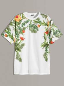 Men Tropical Print Tee