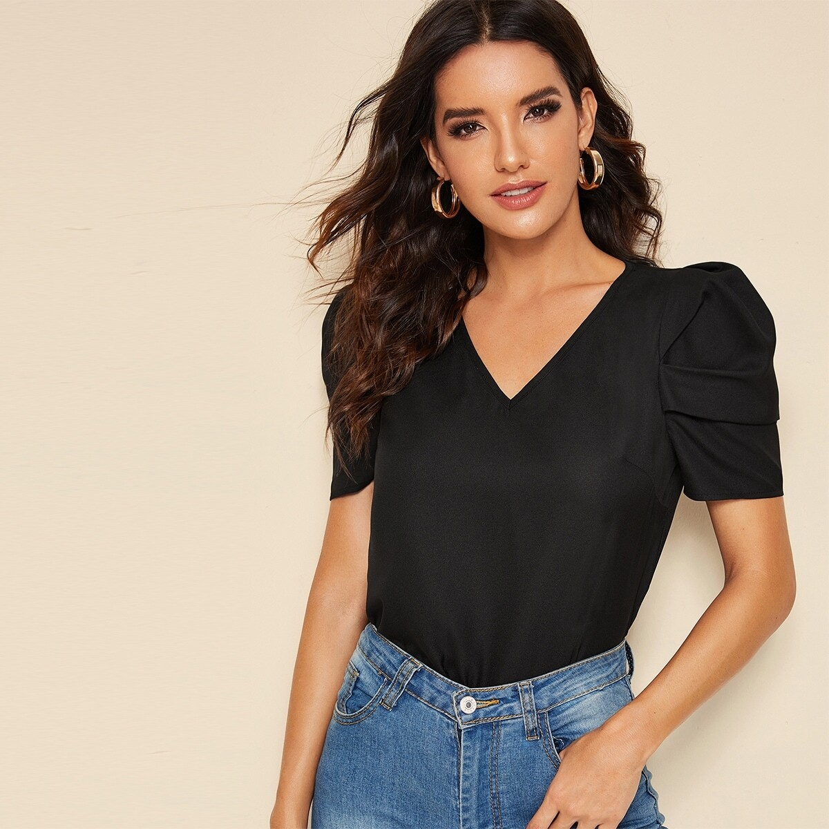 SHEIN coupon: Keyhole Back V-neck Puff Sleeve Top