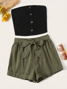 Rib-knit Bandeau Top and Rolled Hem Shorts Set