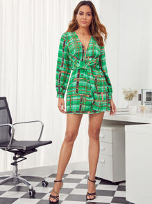 Plunging Neck Tie Front Chain & Plaid Print Dress