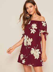 Floral Print Off Shoulder Tie Cuff Dress