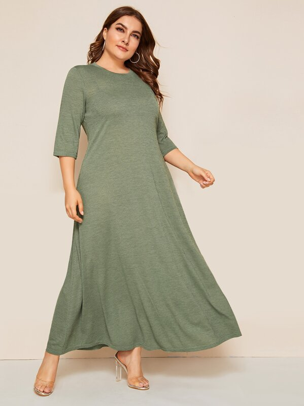 Plus Rib-knit Solid Flowy Dress