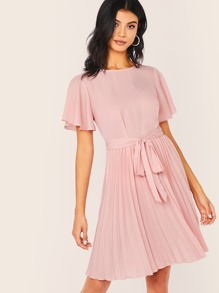 Flutter Sleeve Pleated Hem Belted Dress