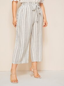 Plus High Waist Belted Palazzo Pants
