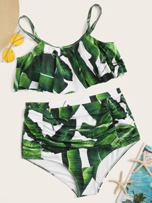 Plus Tropical Floaty Top With Ruched Bikini Set