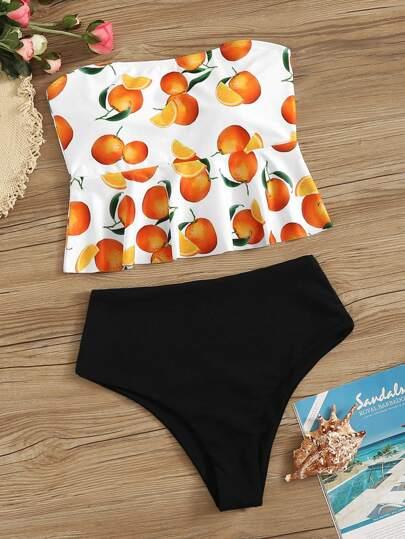 37880e3a88 Orange Print Ruffle Bandeau Tankini Set