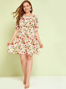 Plus Fruit Print Square Neck Frill Dress