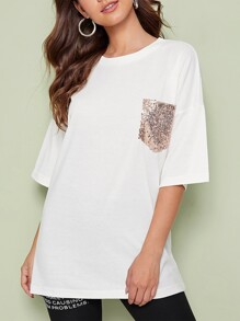Contrast Sequin Pocket Drop Shoulder Tee