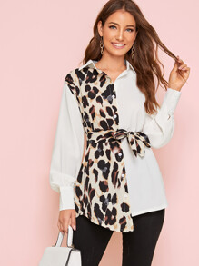 Leopard Spliced Self-tie Asymmetrical Shirt