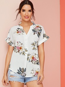 V Neck Roll Up Sleeve Floral Print Blouse