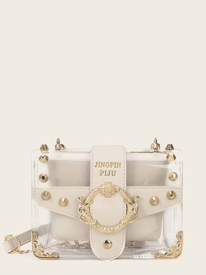 Studded Decor Clear Chain Bag With Inner Pouch