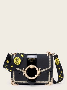 Stitch Trim Crossbody Bag With Star Print Strap