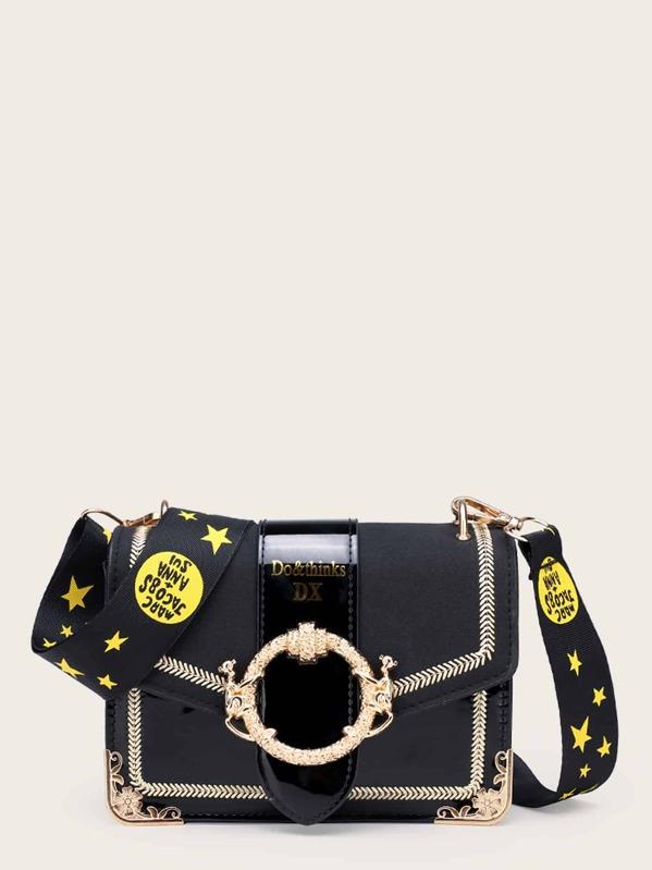 d3268cbd0a Stitch Trim Crossbody Bag With Star Print Strap