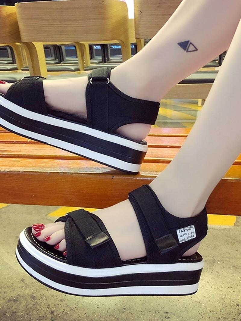 Velcro Sandals Velcro Strap Strap Sole Sole Chunky Chunky uT1cKFJ3l