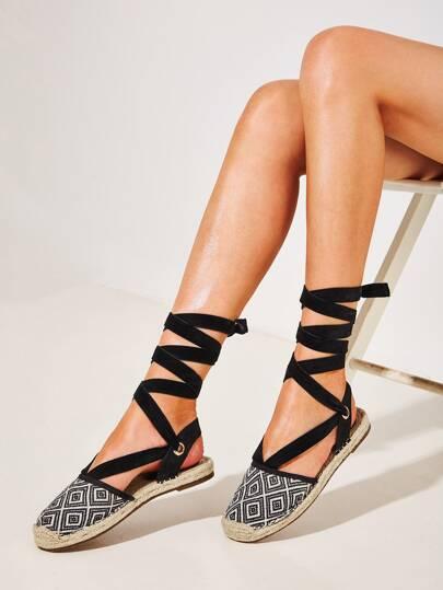 da2376487 Tie Leg Geometric Print Espadrille Flats