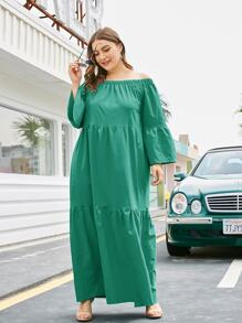 Plus Ruffle Hem Off Shoulder Maxi Dress