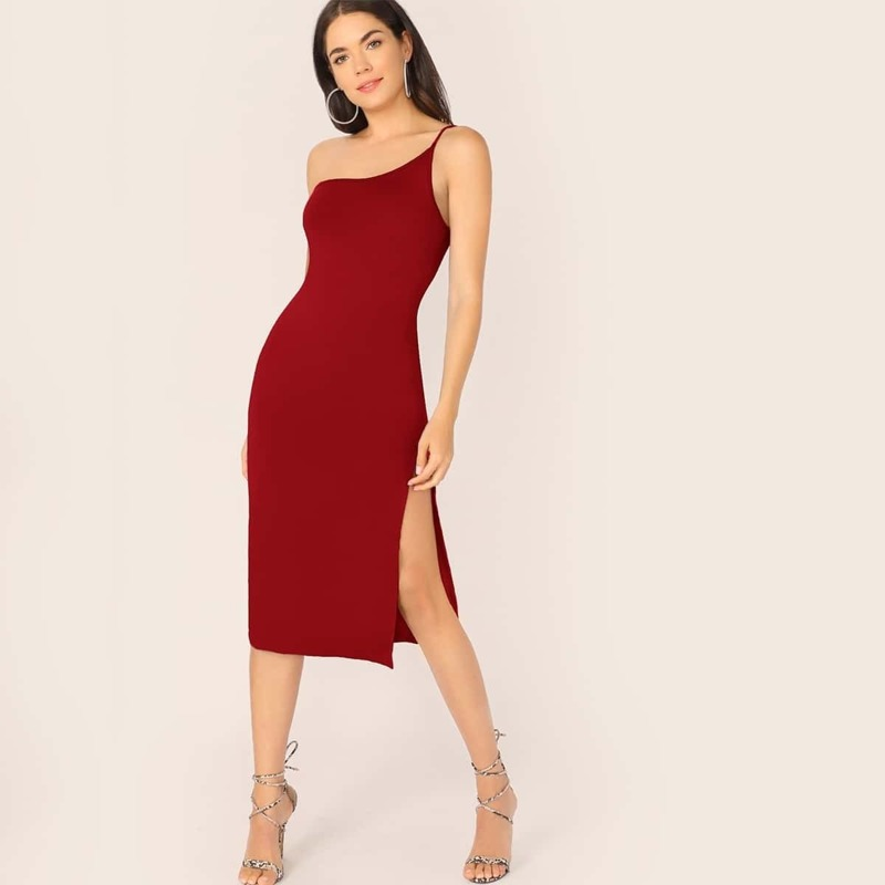 One Shoulder Split Thigh Form Fitted Dress, Burgundy