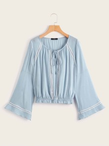 Frill Hem Flounce Sleeve Tie Front Top