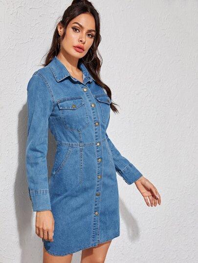 34a71c7e07 Bleach Wash Button Front Slit Side Denim Dress