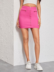 Solid Zip Front Denim Skirt