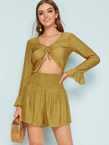 Flounce Sleeve Drawstring Detail Top & Shirred Shorts Set