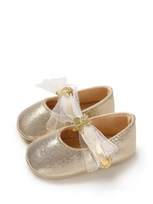 Baby Girls Lace Panel Mary Jane Shoes