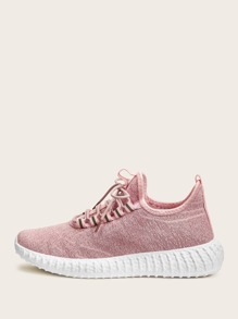 Lace-up Front Chunky Sole Knit Trainers