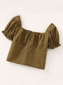 Gingham Knot Front Square Neck Blouse