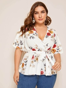 Plus Floral Print Surplice Front Belted Blouse