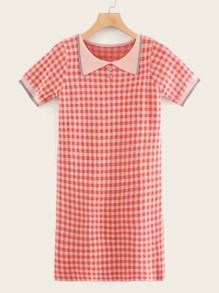Gingham Piping Trim Ribbed Dress