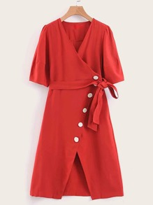 Solid Button Front Belted Wrap Dress