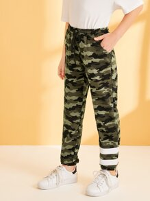 Boys Elastic Waist Striped Detail Camo Print Pants