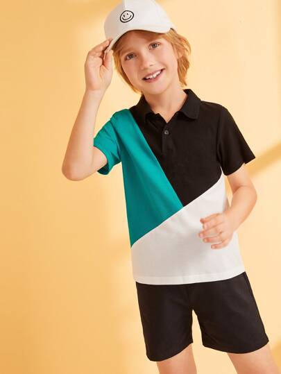 Boys Cut-and-Sew Polo Shirt
