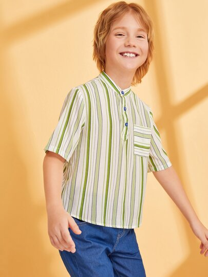 Boys Pocket Front Half Placket Shirt