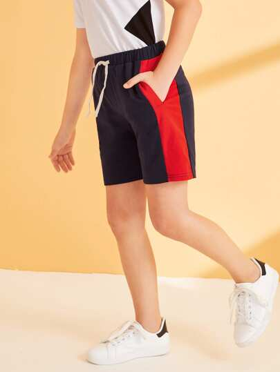 Boys Drawstring Waist Colorblock Side Tape Pocketed Shorts