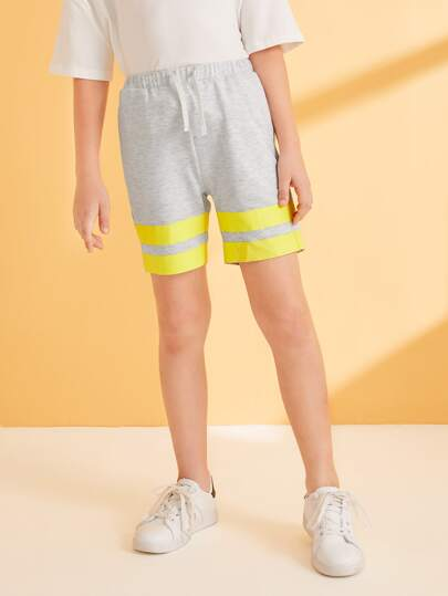 Boys Striped Panel Drawstring Waist Track Shorts