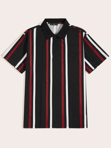 Men Button Front Striped Polo Shirt