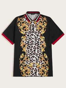 Men Leopard & Scroll Print Polo Shirt