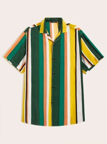 Men Rainbow Striped Revere Collar Shirt