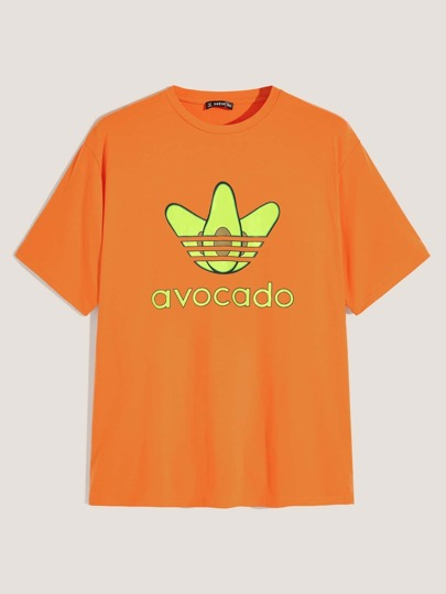 Guys Neon Avocado and Letter Print Top