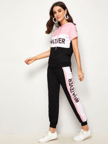 Letter Print Top & Tape Side Sweatpants