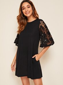 Guipure Lace Bell Sleeve Pocket Side Dress