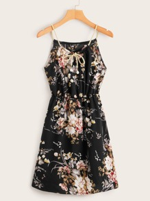 Floral Print Tie Neck Halter Dress With Braided Strap