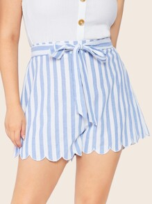 Plus Scallop Hem Striped Belted Shorts
