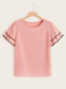 Plus Piping Trim Layered Sleeve Top