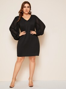 Plus Solid V Neck Bishop Sleeve Dress