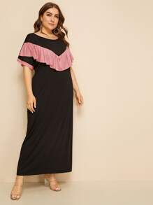 Plus Color Block Ruffle Trim Maxi Dress