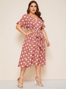 Plus Polka Dot Flounce Sleeve Belted Dress