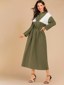 Colorblock Zip Front Drawstring Dress