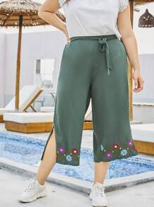 Plus Flower Embroidered Split Side Belted Pants